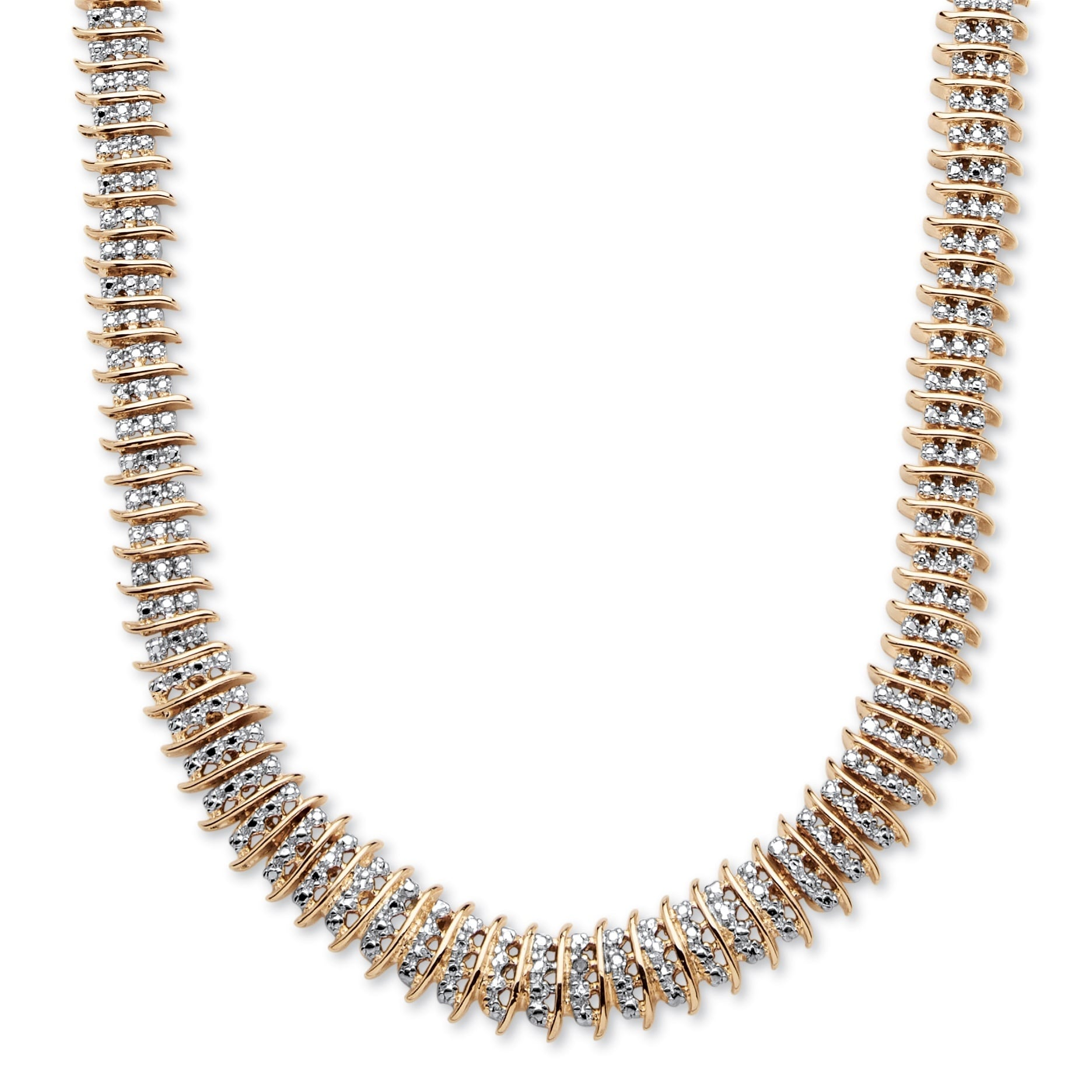 Yellow Gold Plated Round Genuine Diamond Tennis Necklace 1 5 Cttw Ij Color I2 I3 Clarity Overstock 11421826