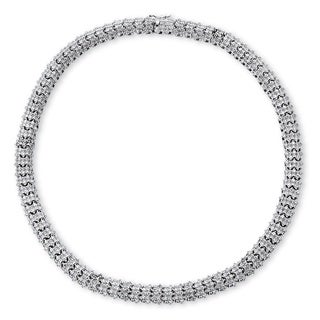 PalmBeach Silver Overlay 1ct TDW Diamond Snake-Link Necklace (I-J, I1-I2)