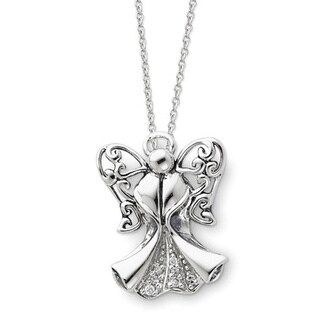 Versil Sterling Silver Cubic Zirconia Antique Angel of Strength Necklace