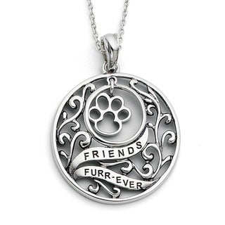 Versil Sterling Silver Antique Animal Friends Dog Necklace