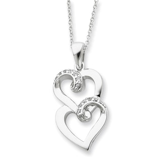 Versil Sterling Silver Cubic Zirconia 'To My Sister' Heart Necklace