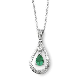 Versil Sterling Silver May CZ Never Forget Teardrop Birthstone Nck