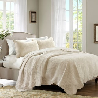 Madison Park Marino Reversible Scalloped Edge Coverlet Set 3-Color Option