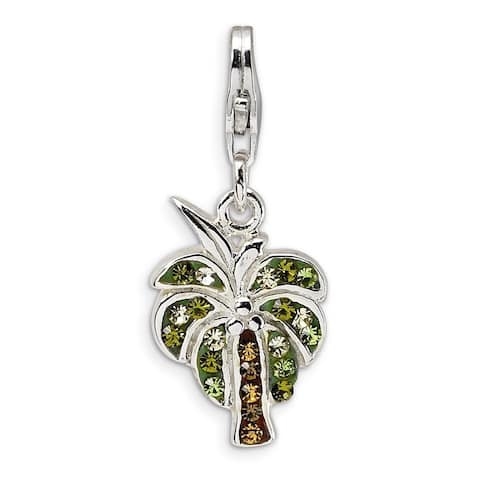 Sterling Silver Austrian Crystal Element Palm Tree Charm by Versil