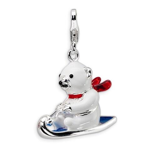 Versil Sterling Silver 3D Enamel Polar Bear on Sled Charm