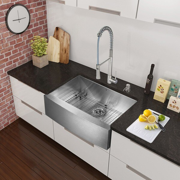 Vigo All In One Camden Farmhouse Kitchen Sink Set: Shop VIGO All-in-One 36-inch Stainless Steel Farmhouse