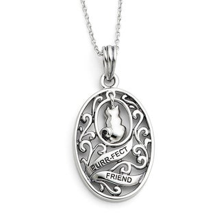 Versil Sterling Silver Antique Animal Friends Cat Necklace