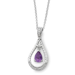 Versil Sterling Silver Cubic Zirconia June Birthstone Necklace