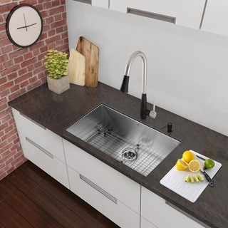 VIGO All-in-One 32-inch Stainless Steel Undermount Kitchen Sink and Milburn Stainless Steel/Matte Black Faucet Set