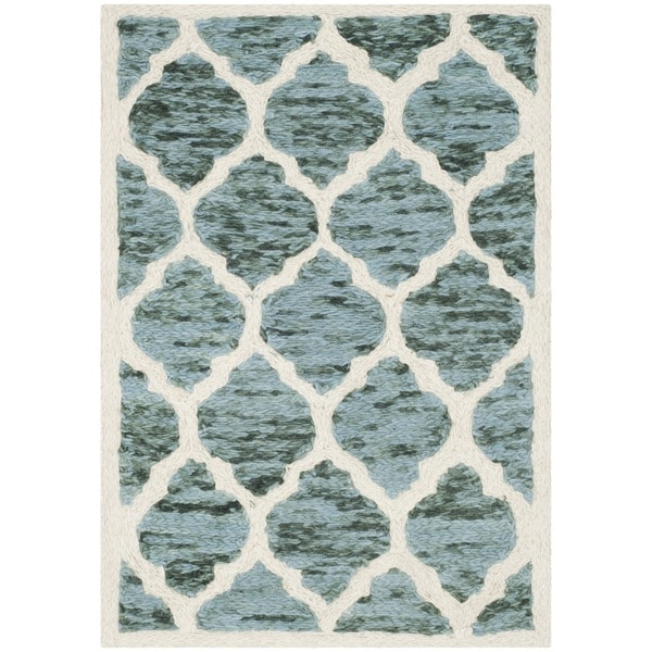 Safavieh Handmade Himalaya Turquoise/ Ivory Geometric Wool Rug (2' x 3') - 2' x 3'