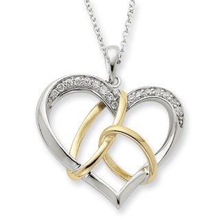 Versil Two-tone Sterling Silver Cubic Zirconia 'To Have and To Hold' Necklace