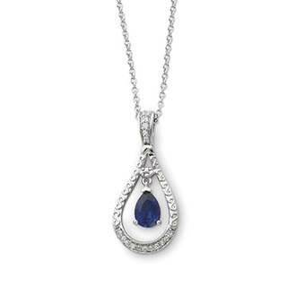 Versil Sterling Silver Sapphire September 'Never Forget' Necklace