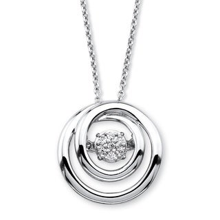 Platinum over Silver Diamond in Motion Circle Pendant Necklace