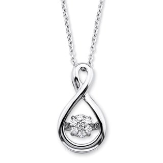 PalmBeach Platinum over Silver Diamond in Motion Loop Pendant Necklace