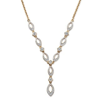 PalmBeach 18k Yellow Gold Overlay Diamond Accent Open Marquise Link 'Y' Necklace