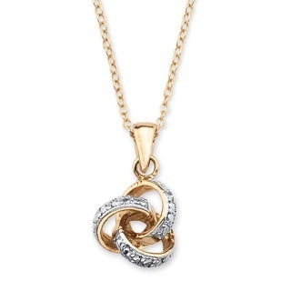 PalmBeach 18k Yellow Gold Overlay Diamond Accent Love Knot Pendant Necklace