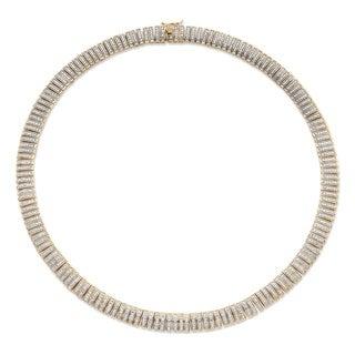18k Gold Overlay 1ct TDW Diamond Bar-Link Collar Necklace (I-J, I1-I2)
