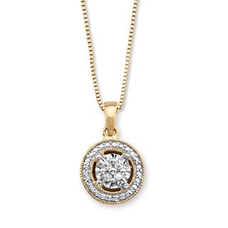 14k Gold over Silver Diamond Accent Halo-Style Pendant Necklace