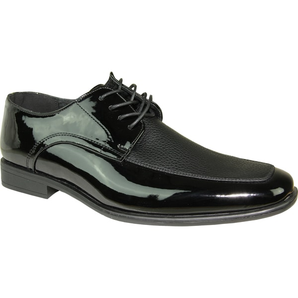 BRAVO Men Dress Shoe NEW KELLY-1 Oxford Black Patent - Wide Width Available