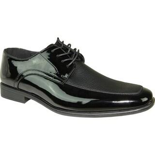BRAVO Men Dress Shoe NEW KELLY-1 Oxford Black Patent - Wide Width Available