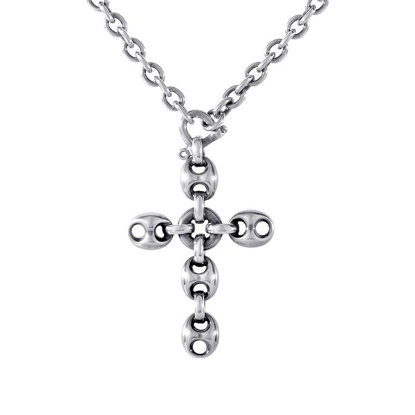 a5cd0ea3d42 Shop Gucci Marina Chain Sterling Silver Crucifix Pendant Necklace ...