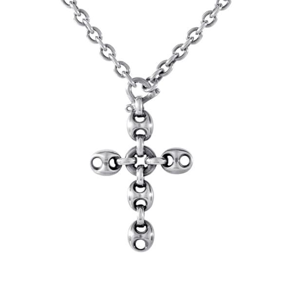 25bcef20e26 Shop Gucci Marina Chain Sterling Silver Crucifix Pendant Necklace ...