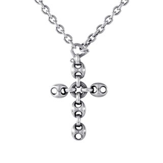 Gucci Marina Chain Sterling Silver Crucifix Pendant Necklace
