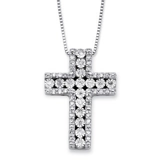 PalmBeach Sterling Silver 1/4ct TDW Round Diamond Cross Pendant Necklace (I-J, I1-I2)