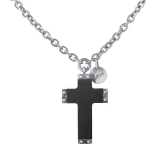 Gucci Sterling Silver Black Wood Crucifix Pendant Necklace