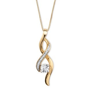 PalmBeach 14k Gold over Silver Round Diamond Accent Ribbon Twist Drop Pendant Necklace