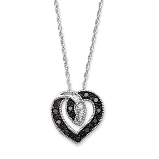 Platinum over Silver 3/8ct TDW Round Black Diamond Heart Pendant Necklace