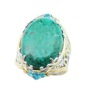Michael Valitutti Crysocolla with Neon Apatite Ring