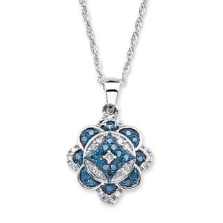 PalmBeach Platinum over Silver 1/4ct TDW Enhanced Blue and White Diamond Floral Motif Necklace (I-J, I1-I2)