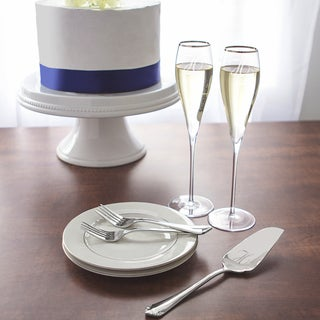 Mr. & Mr. 7 oz. Silver Rim Champagne Flutes and Personalized Keepsake Cake Serving Set