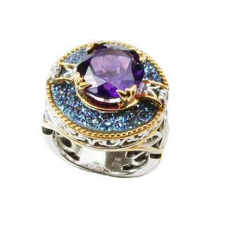 One-of-a-kind Michael Valitutti Cobalt Druzy and African Amethyst Ring