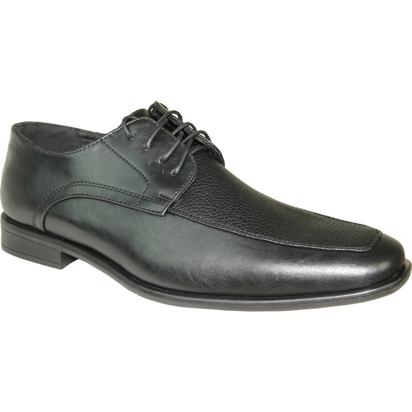 BRAVO Men Dress Shoe NEW KELLY-1 Oxford Black Matte - Wide Width Available