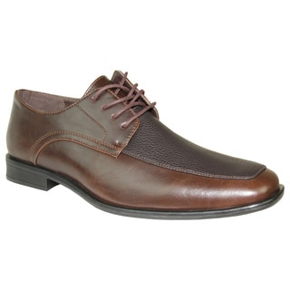 BRAVO Men Dress Shoe NEW KELLY-1 Oxford Brown Matte - Wide Width Available
