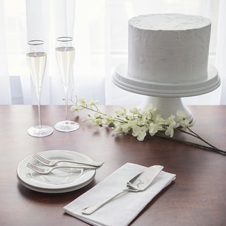 Mrs. & Mrs.7 oz. Silver Rim Champagne Flutes and Personalized Keepsake Cake Serving Set