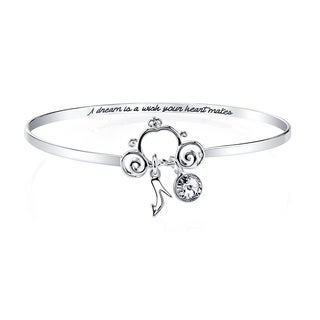 Disney Silverplated Brass and Austrian Crystal Cinderella Bangle Bracelet