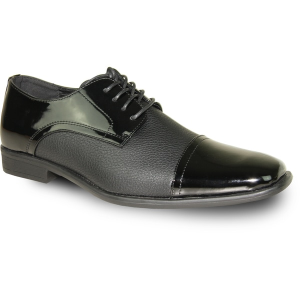 BRAVO Men Dress Shoe NEW KELLY-2 Oxford Black Patent - Wide Width Available