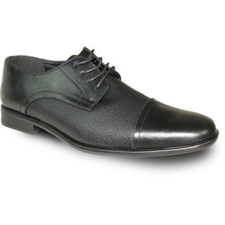 BRAVO Men Dress Shoe NEW KELLY-2 Oxford Black Matte - Wide Width Available