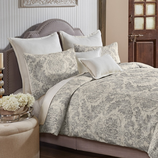 Grand Luxe Medallion Pattern Linen 3 Piece Duvet Set