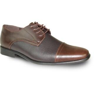 BRAVO Men Dress Shoe NEW KELLY-2 Oxford Brown Matte - Wide Width Available