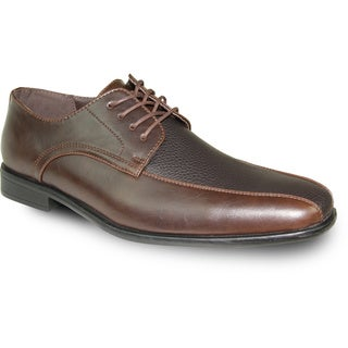 BRAVO Men Dress Shoe NEW KELLY-3 Oxford Brown Matte - Wide Width Available