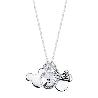 Disney Silver Overlay Crystal Mickey and Minnie Mouse Charm Necklace