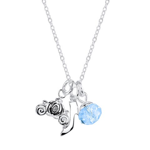 Disney Silverplated Brass and Crystal Cinderella Charm Necklace