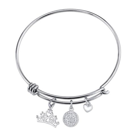 Disney Stainless Steel, Brass and Crystal Princess Expandable Bracelet