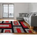 Herat Oriental Asian Hand-tufted Tibetan Red/ Black Wool Rug (5' x 7'8)