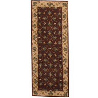 Herat Oriental Indo Hand-tufted Mahal Brown/ Ivory Wool Runner (2'4 x 6')