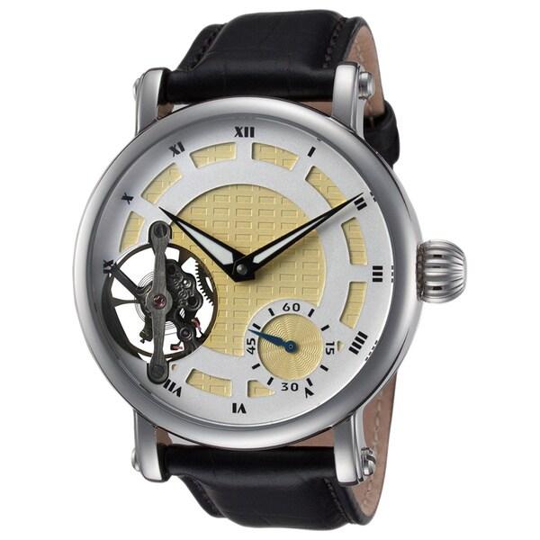 Rougois Men's Open Heart Jeweled Mechanical Movement Skeleton Watch